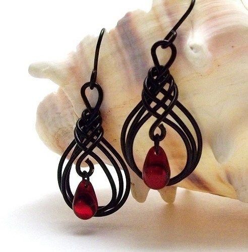 Love this style in black! Gothic Black and Red Teardrσop Earrings Beaded Herringbone Wire Wrapped | BrainofJen - Jewelry on ArtFire