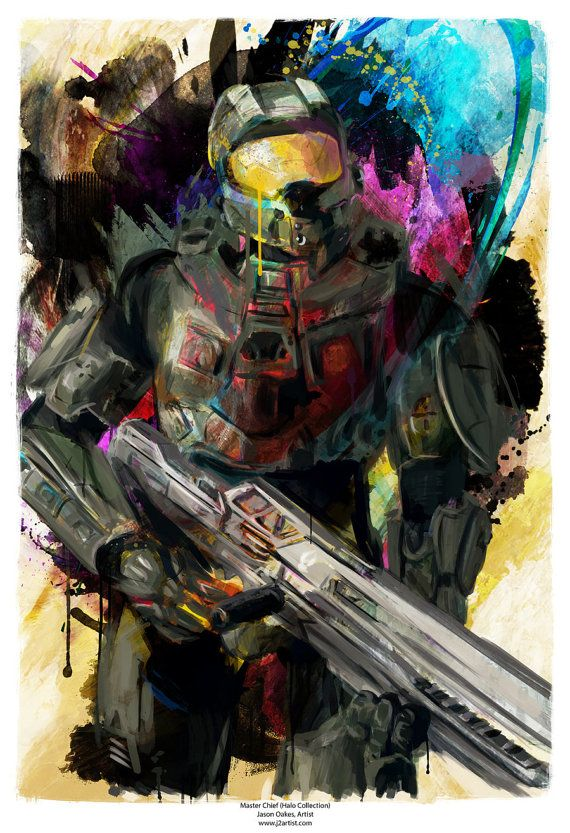 Halo Master Chief Abstract Art Print 13 x 19 by j2artist on Etsy