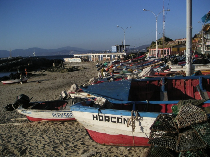 Fishing boats in Horcon, Chile One of my favorite places to spend time in Chile. Horcon is a small, bohemian fishing village with the best crab empanadas!