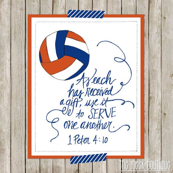 INSTANT DOWNLOAD, Scripture Printable, Volleyball, Serve One Another, No. 139