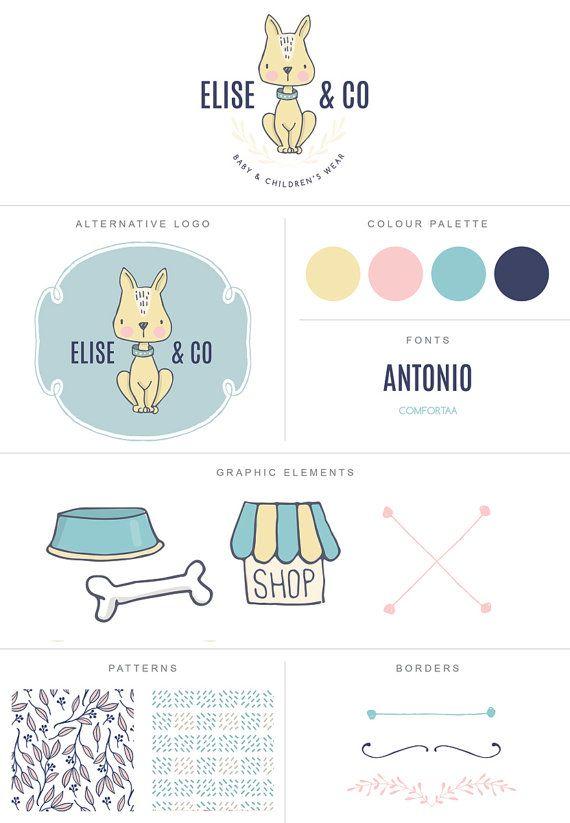 PRE-MADE logo design pet shop clothing boutique children dog puppy business…