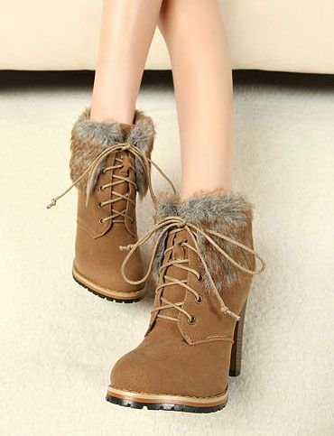 Comfy Style Fur Trim Ankle-Length Boots for Women, Shop online for $29.80 Cheap Boots code 707724 - Eastclothes.com