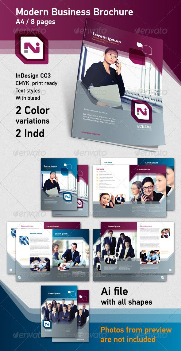 "Modern Business Brochure 2  #GraphicRiver        Modern Brochure Template / 8 pages.  All layers are fully editable.  Text, photos and shapes are in separate layers for easy modification. You can easily apply your color, gradient, change your font and text style. 	 Just replace tiff images in Photoshop with your own photos, save them in folder ""images"" and update links (InDesign). Make sure your photos are in CMYK at 300dpi, and you are ready to go.  The images in the preview are not included in the main file.    	 This brochure template is ideal for any type of business or personal use.   	 Font used: MyriadPro  	 •  There is 2 INDD files, with 2 color variations  	 •  Photos from preview image are not included.   	  LIVE PREVIEW  /  CLICK HERE   	 Links for photos are in help file.  	 Thank you!     Created: 23July11 GraphicsFilesIncluded: InDesignINDD Layered: Yes MinimumAdobeCSVersion: CS3 PrintDimensions: 8.5x11 Tags: annualreport #business #businessportfolio #cleanstyle #generalpurpose #lines #moderndesign #multicolor #transparent"