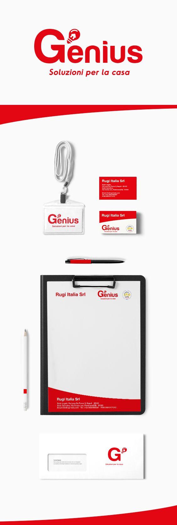 """Logo, Naming, Payoff e immagine coordinata della linea di prodotti per la casa """"Genius"""" per l'azienda Rugi Italia Srl."""