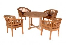 Anderson Teak 5PC Tosca 4 Ft Round Teak Patio Table Curved Chair Set 3
