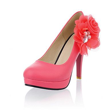 Faux Leather Stiletto Heel Pumps With Imitation Pearl And Applique Shoes(More Colors) – USD $ 39.99