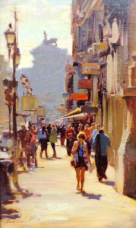"Kim English: ''A Street in Rome"" original framed oil"