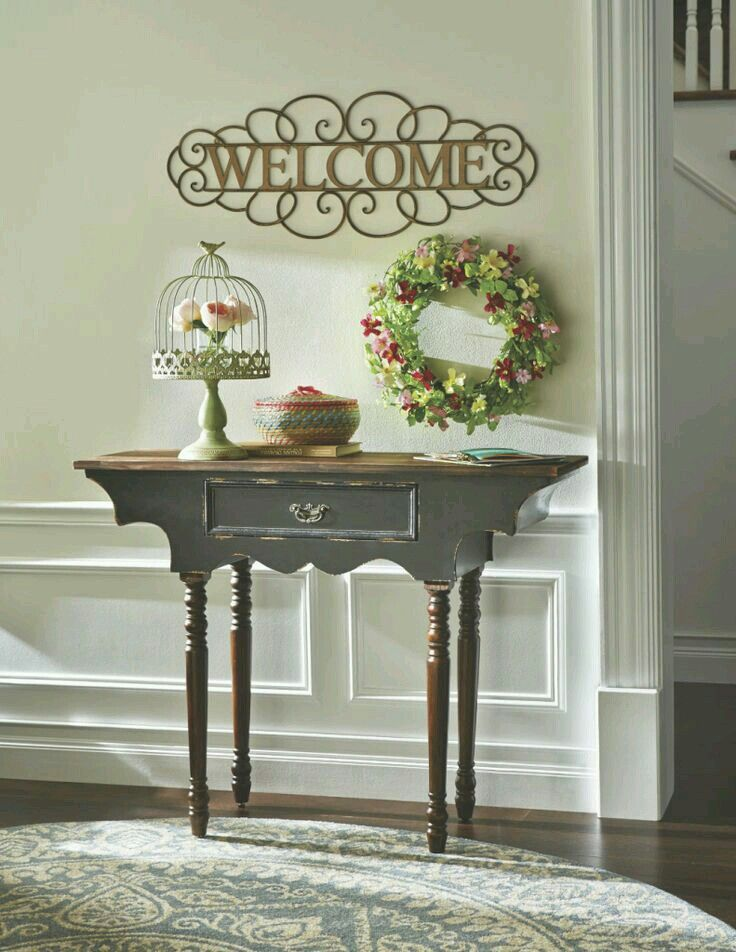 even when space is at a minimum you can still add a unique look with a small entryway table that adds charm choose one that is thin and narrow and