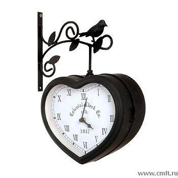 """Уличные металлические двухсторонние кварцевые часы """"Сердце"""" на кронштейне"""