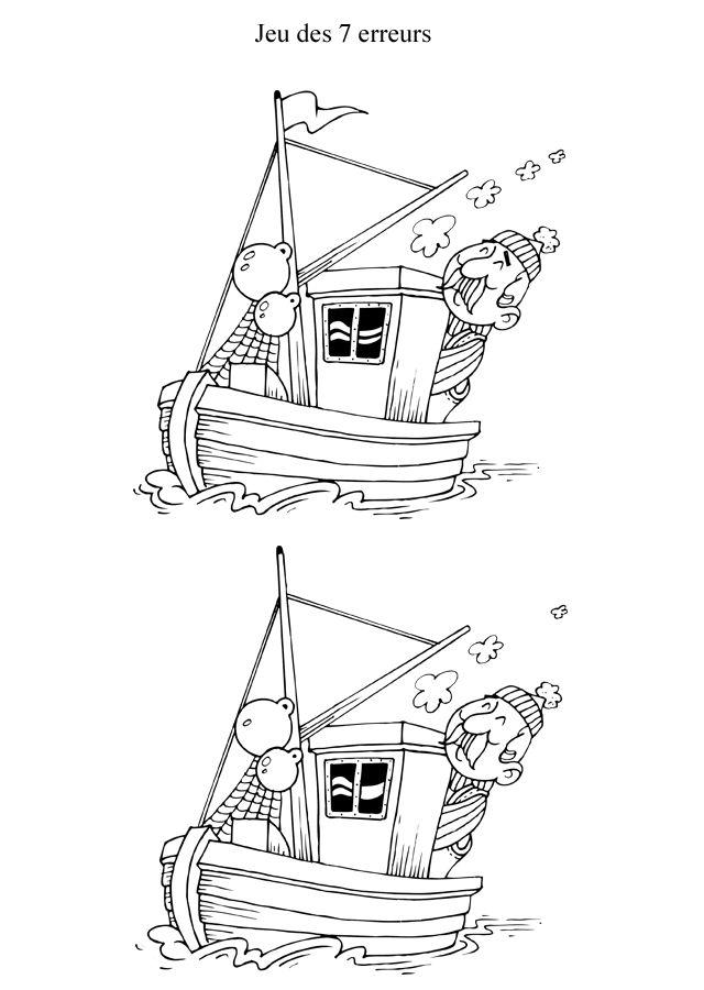 Jeu des différences à imprimer, le bateaux