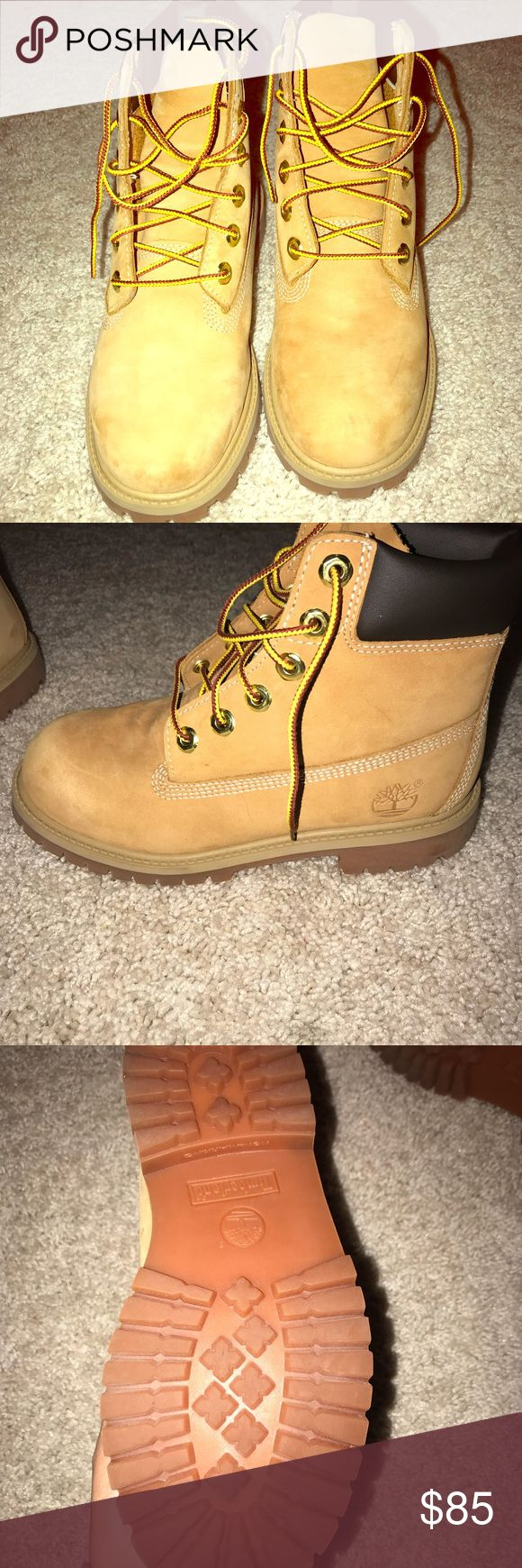 Boys Wheat Timberland Boots Like New, Worn Twice, As Pictured. Boys Grade School Wheat Timberlands! Great Condition!!!!!!!!! Timberland Shoes Boots