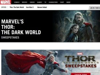 Enter the  Marvel's Thor: The Dark World Sweepstakes for a chance to win a 3-day/2-night trip for two to Los Angeles, CA to attend a Marvel Film Premiere!  In addition, enter for a chance to win your image drawn into a Marvel Comic Book, or 1 of 5 Marvel's Thor Movie Posters, or 1 of 10 Marvel Unlimited Year Subscriptions!