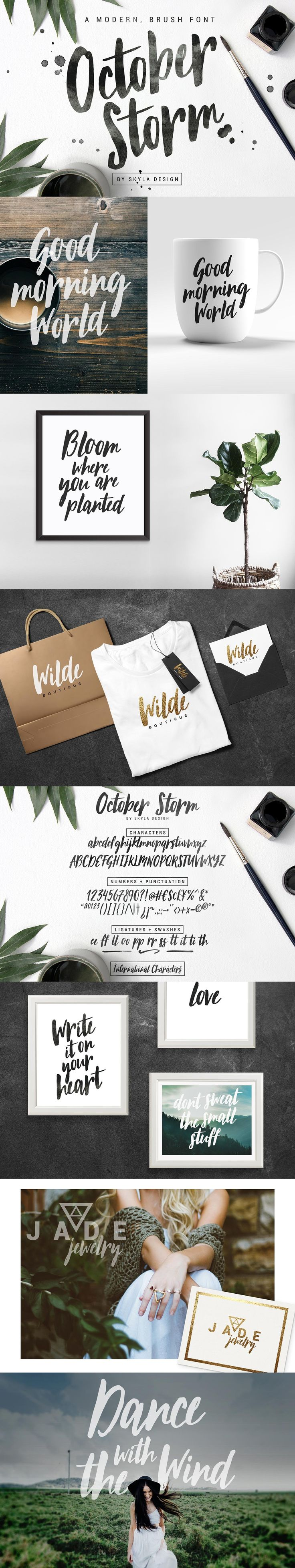 Modern brush font - October Storm by Skyla Design on @creativemarket #fonts #font #script #brush #handwritten #download #type #graphic #design #print #cursive #calligraphy #vintage #typography #modern #digital #handwriting #handlettered #handlettering #typedesign #typeface #artoftype #handmadefont #brushtype