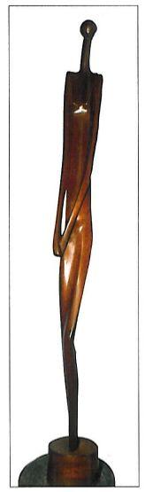 MPANE ENKOBO (1941-décédé) DES SENTIMENTS RELIGIEUX ET D'AMOUR Son art se caractérise par la finesse des lignes, la texture mettant en exergue une chaire potelée de femme, le style naturaliste avec stylisation des formes silhouettées, taille allongée…Ses thèmes son religieux (« ascension »,  « résurrection » « la mise au tombeau »). Il exploite les bois en ébène, en bois rouge ou gris. #congo #congolese #africanartist #painter