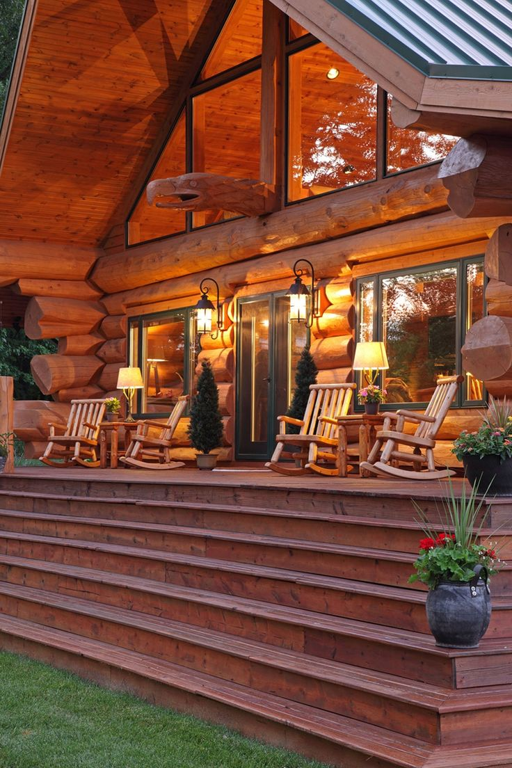 330 best chalet cabin images on pinterest cabin for Log cabin porch