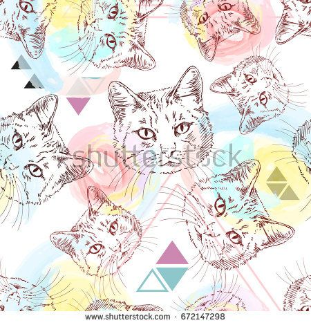 Seamless vector pattern with sketch of cat's head on background of watercolor stains and triangles