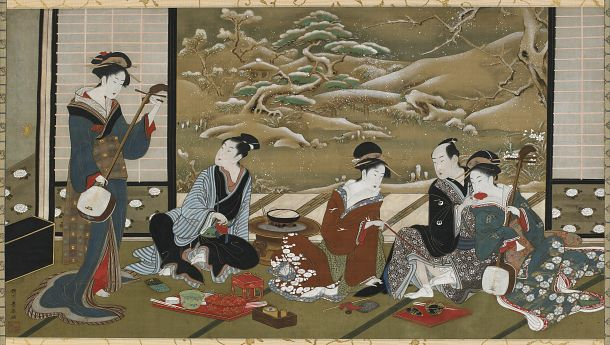 "Look at this painting on silk by Utagawa Toyoharu (1735–1814), titled ""A Winter Party."" What is happening in this image? How do we know it is winter? Create a narrative for the scene. See http://www.asia.si.edu/collections/singleObject.cfm?ObjectNumber=F1900.113 for information on this artwork, and http://www.asia.si.edu/collections/edan/object.cfm?q=fsg_F1900.113 for detailed images. F1900.113 #FSMiniLesson"