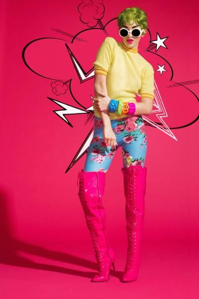 Pop She Goes Nail Art   Vibrant Neon Pop Art Nails, Bright Makeup, Comic Nails, Cartoons, Andy Warhol, Roy Lichtenstein, French Manicure, Floral Pants, Pink Boots, Green Hair, Neon Clothes, Photo Shoot   Nail It! Magazine
