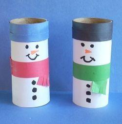 Toilet paper roll snowmen - Re