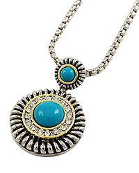 "15"" + EXT Turquoise Clear rhinestone Pendant Necklace Retail - $32.50 You Pay - $16.25 w/ free shipping in the US."