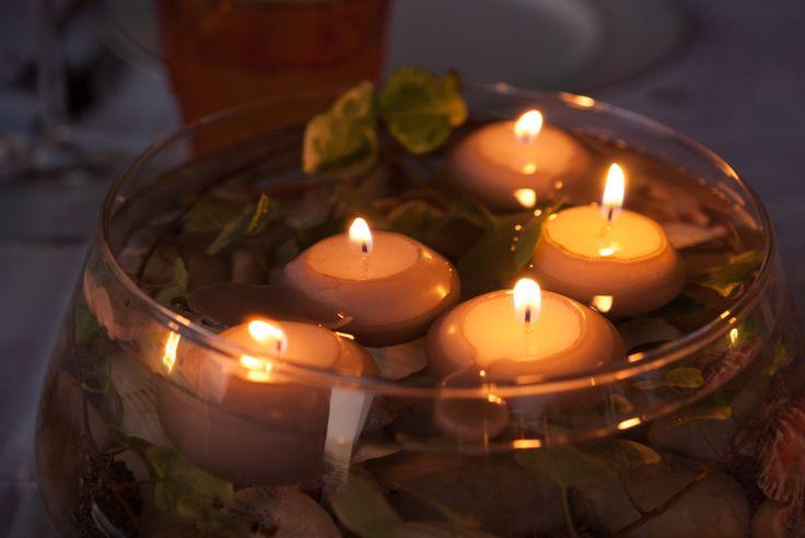 conchiglie e candele galleggianti