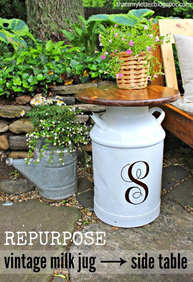 Repurposed Vintage Milk Jug Side Tables - Pretty Handy Girl
