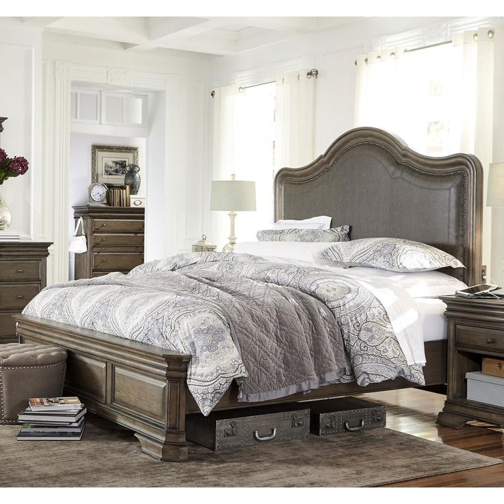 This elegant bed makes a wonderful centerpiece for your transitional or traditional bedroom setting. Highlighted by a beautiful upholstered headboard, the bed showcases a low profile footboard with panel designs. Completed with USB charging stations on each side, this bed presents extended accommodation without sacrificing elegant design.