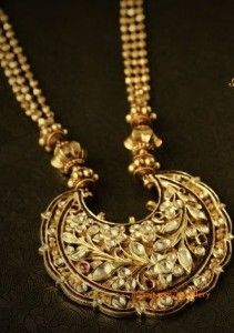 gold beads necklace with jaipur gems pendant