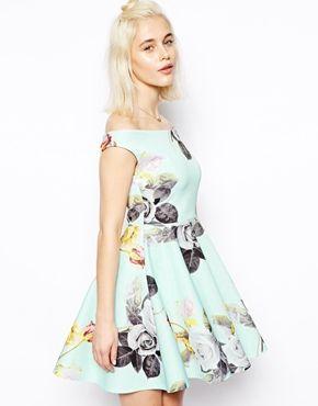 Enlarge ASOS Mint Floral Bardot Skater Dress