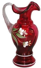 Fenton Cranberry Glass Pitcher.