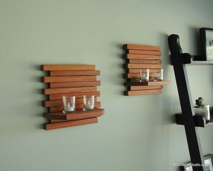 How To Hang Wall Sconces For Candles : Wall Sconce Candle Holder Minimalist Modern Wood Wall Hanging Shelf Set of 2 Dark, Shelves and ...