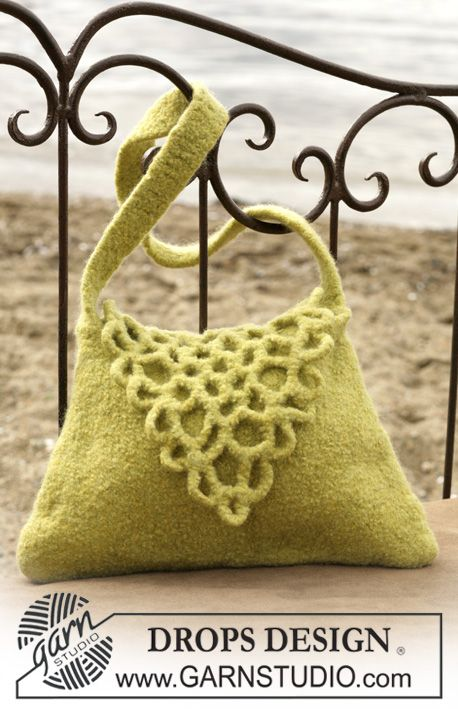 "DROPS Felted bag with a flap in ""Eskimo"". I'd like to try something like this later."