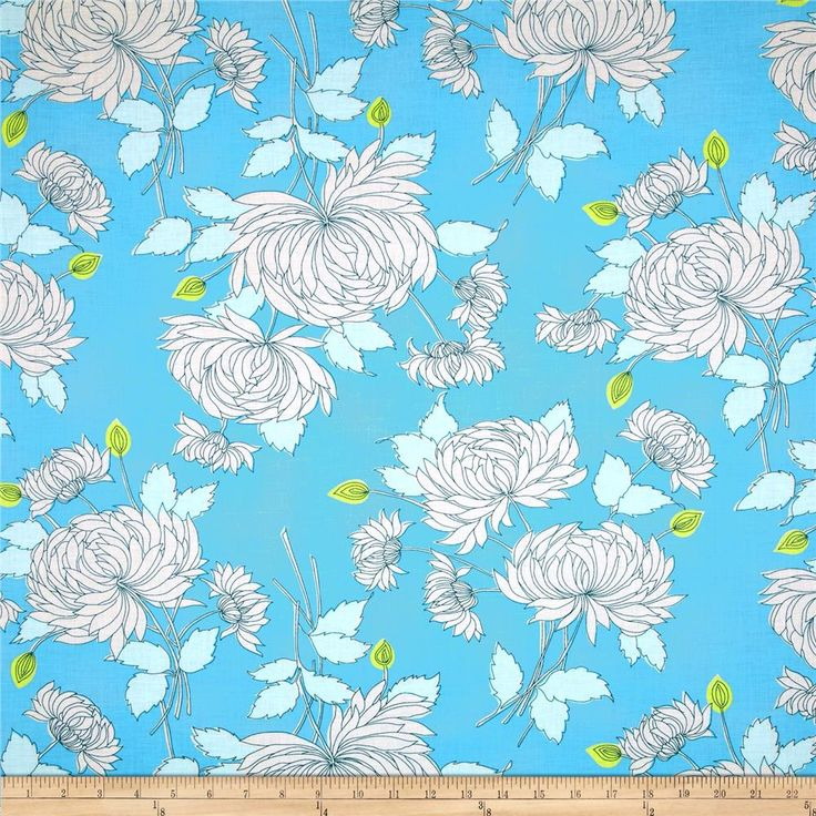 Amy Butler Belle Chrysanthemum Blue from @fabricdotcom  Designed by Amy Butler for Westminster Fabrics, this cotton print is perfect for quilting, apparel and home décor accents. Colors include white, blue and citron.