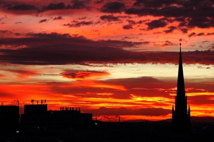 Dramatic sunrise over St Patrick's Cathedral... Melbourne, Australia
