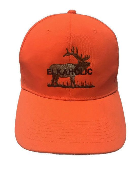 Elkaholic Hunter Blaze Orange Embroidered Elk Antlers Snapback Hat Cotton #Otto