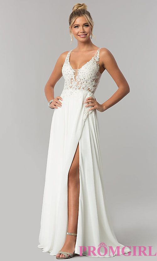 b4161cc2b0 Long Faux-Wrap Ivory Chiffon Prom Dress by PromGirl