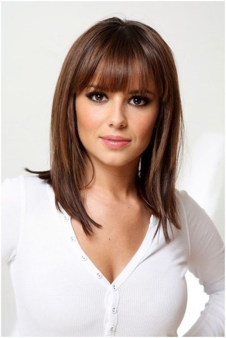 Picture Of Straight Medium Hairstyles With Bangs