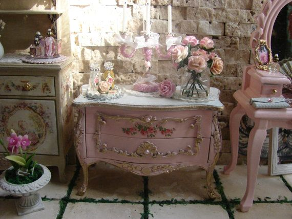 Dollhouse Miniature Shabby Chic Bombay Chest By IttyBittyAndCute, $165.00