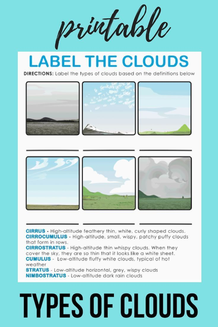 Types of Clouds   Worksheet   Education.com   Earth and space science [ 1102 x 735 Pixel ]