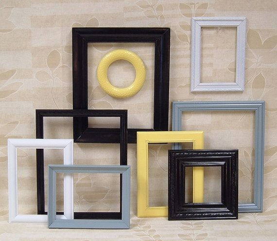 Picture Frames Black Picture Frame Set Yellow Gray Grey White Home Decor  Wall Grouping B23  59The 45 best images about Grey  Black    Yellow Bedroom Inspiration  . Grey Black And Yellow Bedroom Ideas. Home Design Ideas