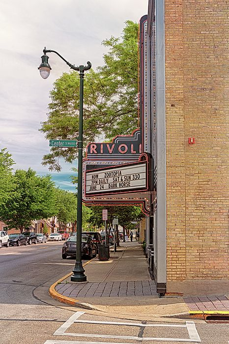Rivoli Theater in Cedarburg, Wisconsin - Art Deco Sign | #ArtForSale from ©Susan Rissi Tregoning Fine Art Photography – Beautiful Wall Art & Home Decor for your Interior Design needs. Visit --> www.susantregoning.com | #Art #Photography #HomeDecor #Wisconsin