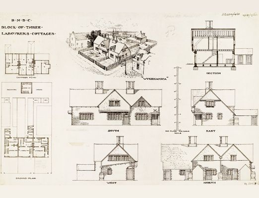 Ethel Mary Charles (British,) Design for a block of three labourers' cottages with perspective, elevations, plans and sections