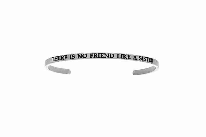 "0.005 Ctw ""THERE IS NO FRIEND LIKE A SISTER"" Diamond Cuff Bangle #TIACollections #Cuff #Bangle #Diamond"