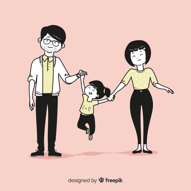 Download Young Family In Korean Drawing Style For Free In 2020 Family Drawing Fashion Drawing Young Family