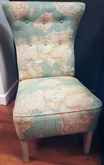 Annie sloan world map fabric reupholstered by Love Restored.