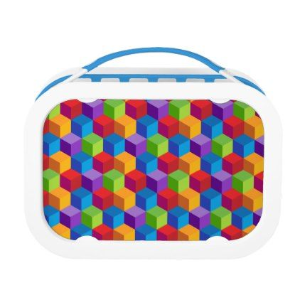 Rainbow Colorful Block Cube Pattern Lunch Box - kitchen gifts diy ideas decor special unique individual customized