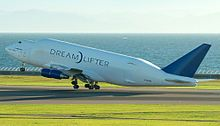 Boeing Dreamlifter N782BA lifts off from Nagoya, Japan.