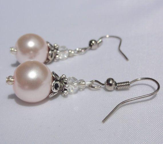 Pink Pearl Bridesmaid Earrings Wedding by Stunning Gems Jewelry Pink Wedding jewelry Wedding Jewelry Bridesmaid Jewelry Flower Girl Jewelry Bridesmaid Jewelry Gift Flower Girl Jewelry Gift