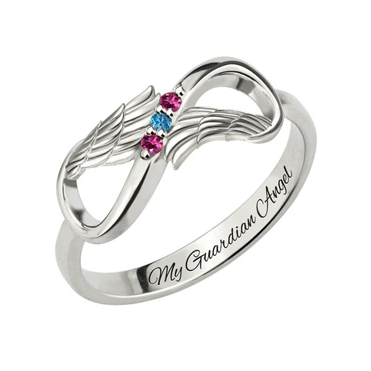 Three Stone Infinity Angel Wings Silver Ring