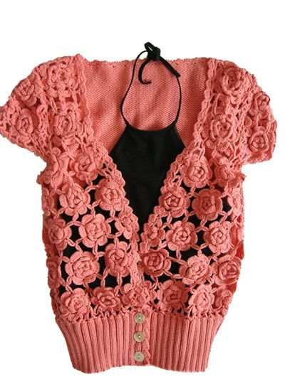 free, rose shrug crochet pattern (russian)
